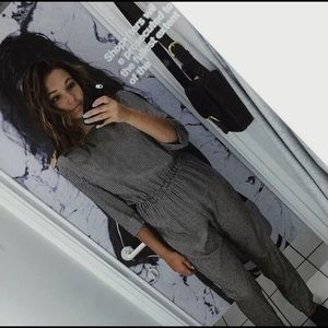 Black and white grid jumpsuit